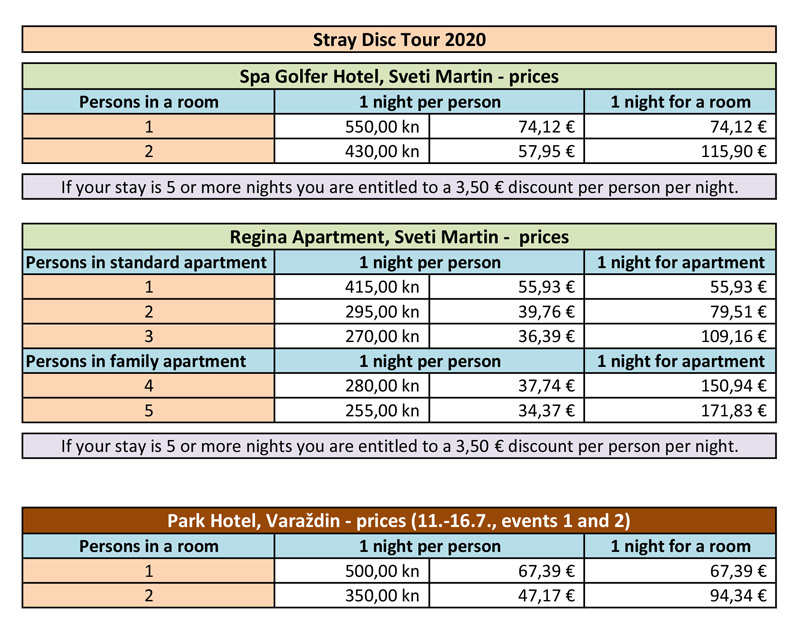 StrayDiscTour2020 accommodation prices
